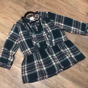 Knox Rose Green Plaid Shirt